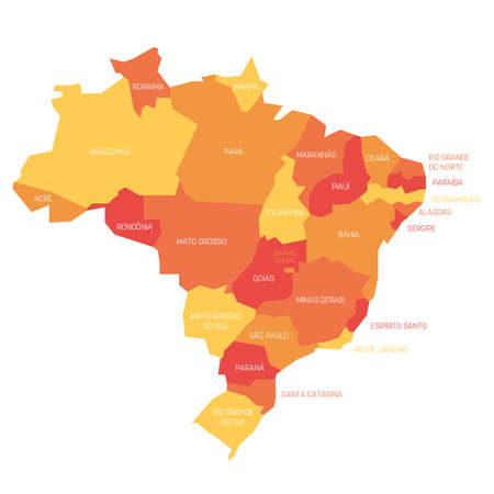 Orange political map of Brazil. Administrative divisions - states. Simple flat vector map with labels.