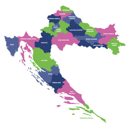 Colorful political map of Croatia. Administrative divisions - counties. Simple flat vector map with labels.
