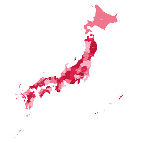 Pink political map of Japan. Administrative divisions - prefectures. Simple flat vector map with labels. 矢量图像