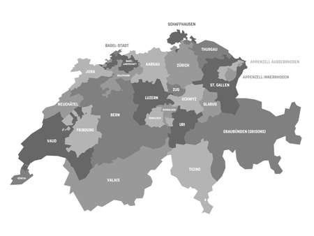 Grey political map of Switzerland. Administrative divisions - cantons. Simple flat vector map with labels. Illustration