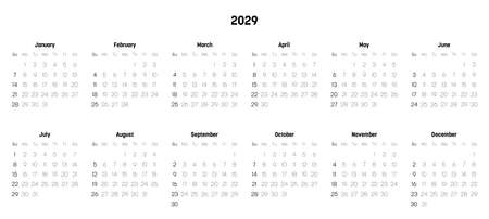 Monthly calendar of year 2029. Week starts on Sunday. Block of months in two rows and six columns horizontal arrangement. Simple thin minimalist design. Vector illustration.