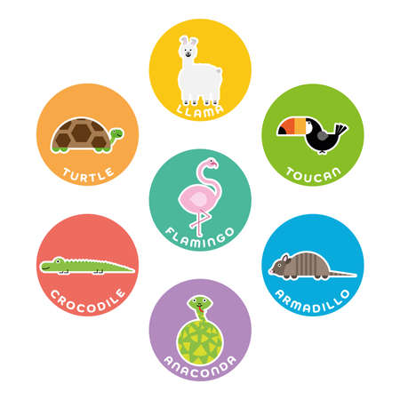 South American wild animals collection. Set of 7 cartoon characters in the circle with name labels. Vector illustration.