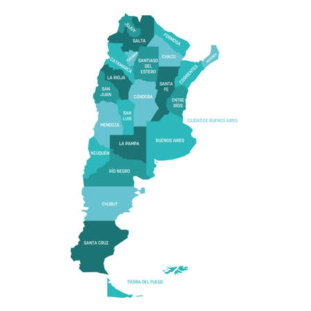 Turquoise blue political map of Argentina. Administrative divisions - provinces. Simple flat vector map with labels.