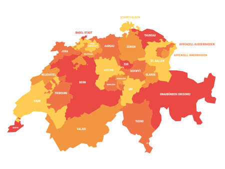 Orange political map of Switzerland. Administrative divisions - cantons. Simple flat vector map with labels.