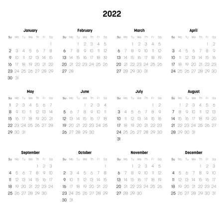 Monthly calendar of year 2022. Week starts on Sunday. Block of months in two rows and six columns horizontal arrangement. Simple thin minimalist design. Vector illustration.
