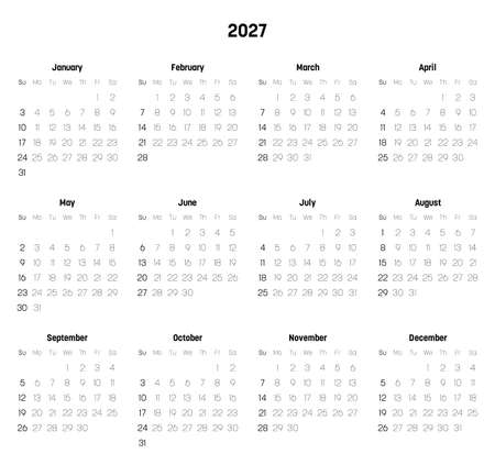 Monthly calendar of year 2027. Week starts on Sunday. Block of months in two rows and six columns horizontal arrangement. Simple thin minimalist design. Vector illustration.