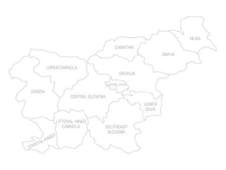 Black outline political map of Slovenia. Administrative divisions - statistical regions. Simple vector map with labels. Illustration
