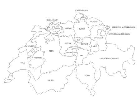 Black outline political map of Switzerland. Administrative divisions - cantons. Simple vector map with labels.