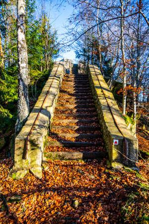 Old stone staircase on Terezinka. Sunny autumn day. Tanvald, Czech Republic Stock fotó