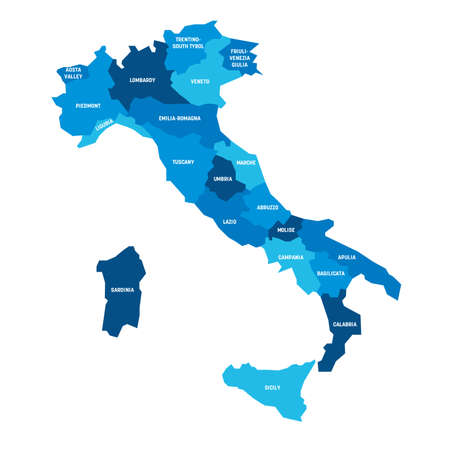 Blue map of Italy divided into 20 administrative regions. White labels. Simple flat vector illustration.