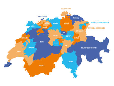 Colorful political map of Switzerland. Administrative divisions - cantons. Simple flat vector map with labels.