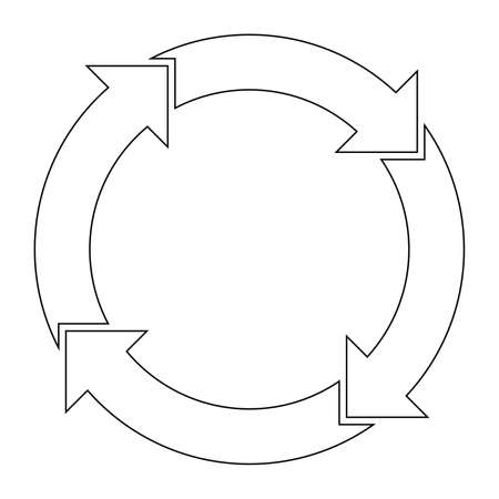 4 arrows in circle. Business infographic diagram of four repeating steps. Simple black outline vector illustration