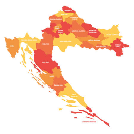 Orange political map of Croatia. Administrative divisions - counties. Simple flat vector map with labels.
