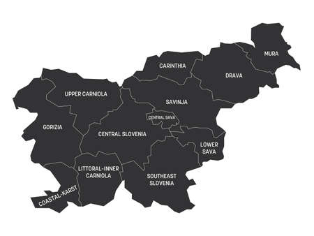 Grey political map of Slovenia. Administrative divisions - statistical regions. Simple flat vector map with labels.