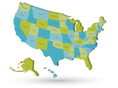 Map of United States of America, USA, with state postal abbreviations. 3D vector map with dropped shadow