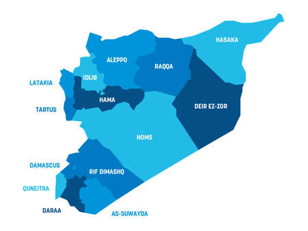 Blue political map of Syria. Administrative divisions - governorates. Simple flat vector map with labels.