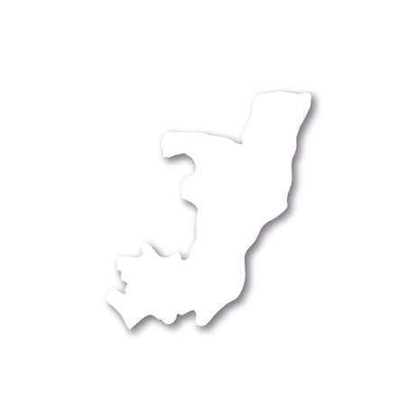 Republic of the Congo, former Zaire - white 3D silhouette map of country area with dropped shadow on white background. Simple flat vector illustration.