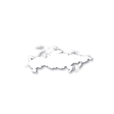 Russia - white 3D silhouette map of country area with dropped shadow on white background. Simple flat vector illustration. 일러스트