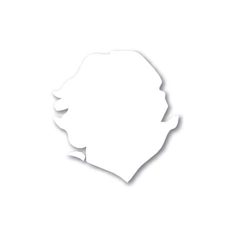 Sierra Leone - white 3D silhouette map of country area with dropped shadow on white background. Simple flat vector illustration.