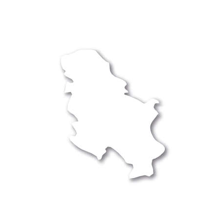 Serbia - white 3D silhouette map of country area with dropped shadow on white background. Simple flat vector illustration.