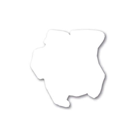 Surinam - white 3D silhouette map of country area with dropped shadow on white background. Simple flat vector illustration. 일러스트