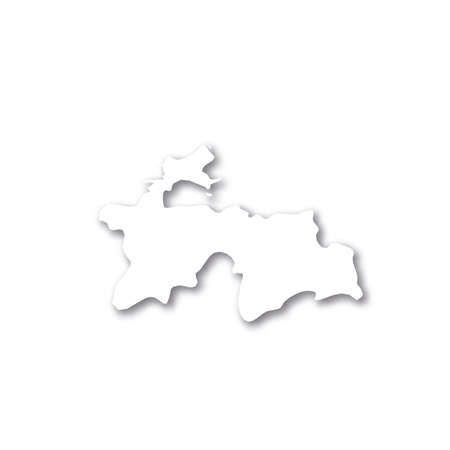 Tajikistan - white 3D silhouette map of country area with dropped shadow on white background. Simple flat vector illustration.