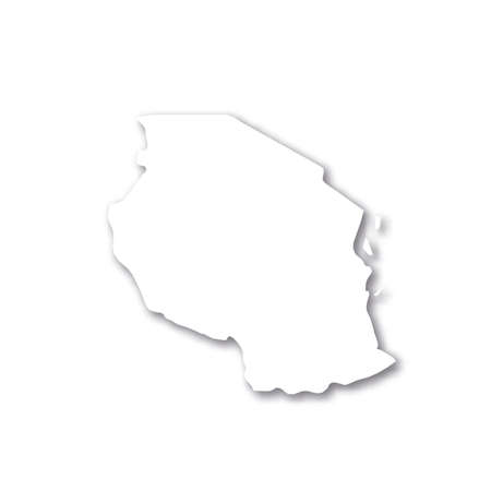 Tanzania - white 3D silhouette map of country area with dropped shadow on white background. Simple flat vector illustration.
