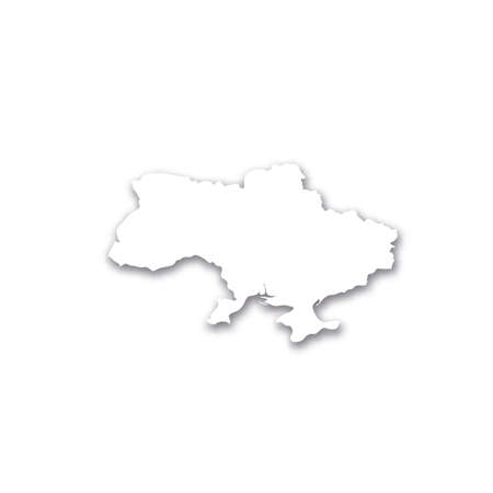 Ukraine - white 3D silhouette map of country area with dropped shadow on white background. Simple flat vector illustration.