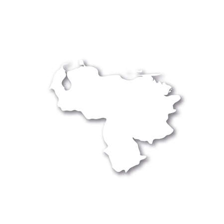 Venezuela - white 3D silhouette map of country area with dropped shadow on white background. Simple flat vector illustration. 일러스트