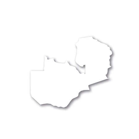 Zambia - white 3D silhouette map of country area with dropped shadow on white background. Simple flat vector illustration. 일러스트