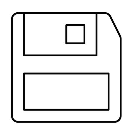 Floppy disc save - modern thin line icon. Simple black outline vector illustration.