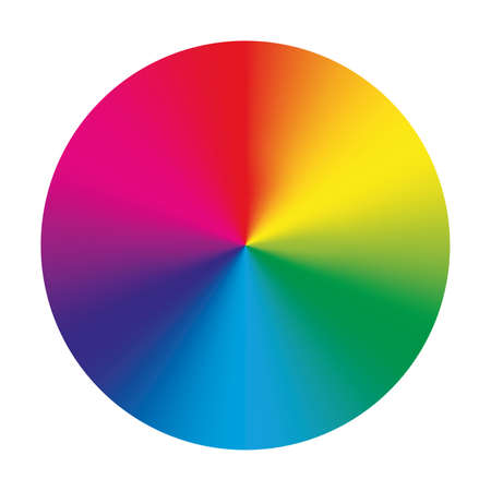 Color wheel - arrangement of color hues around a circle or disc. Vector illustration with rainbow light spectrum gradient