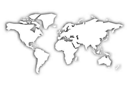 Map of World white silhouette with shadow. Vector illustration.