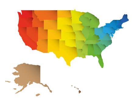 Colorful map of USA, United States of America. Rainbow spectrum colors with shadow overlapping effect. Blank map.