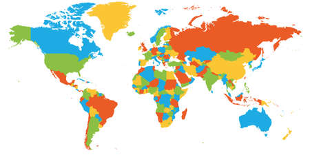 Colorful map of World. High detail blank political map. Vector illustration.