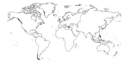 Outline of World Map with continent borders. Simple thin black vector stroke on white background. Ilustração