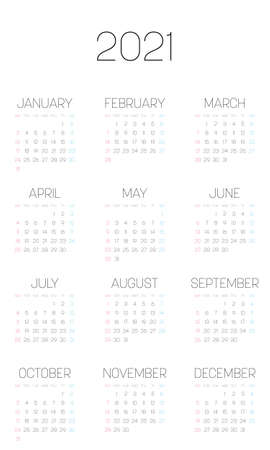 Monthly calendar of year 2021. Week starts on Sunday. Block of months in four rows and three columns. Simple thin minimalist design. Vector illustration.