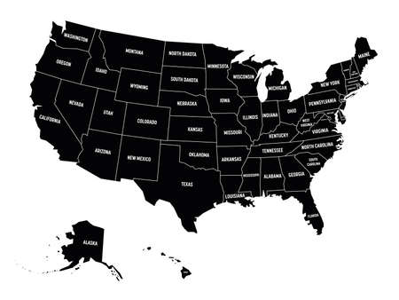 Map of United States of America, USA, with state name labels. Solid black vector map.