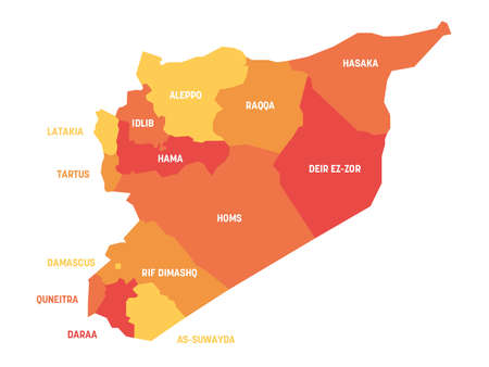 Orange political map of Syria. Administrative divisions - governorates. Simple flat vector map with labels. Ilustración de vector