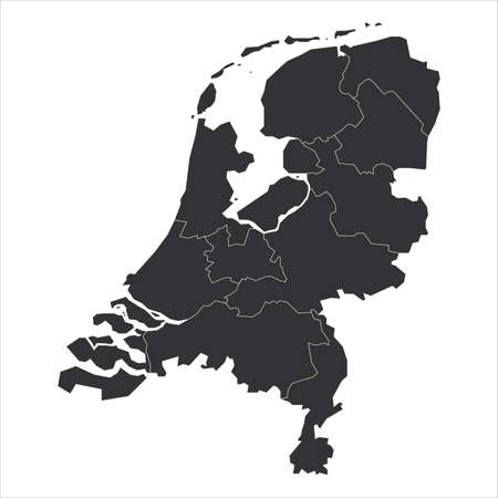 Blank grey political map of Netherlands. Administrative divisions - states. Simple flat vector map.