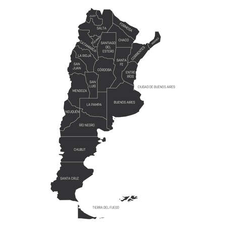 Grey political map of Argentina. Administrative divisions - provinces. Simple flat vector map with labels.