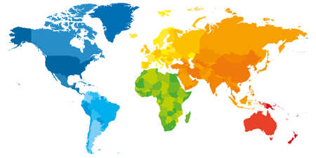Colorful political map of World. Different colour shade of each continent. Blank map without labels. Simple flat vector map. Vektoros illusztráció