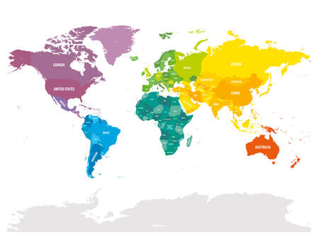 Colorful political map of World. Different colour shade of each continent. With country name labels. Simple flat vector map.