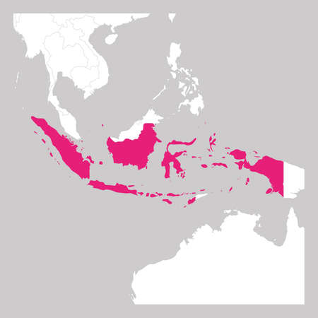 Map of Indonesia pink highlighted with neighbor countries