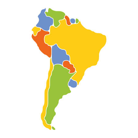 Smooth map of South America continent