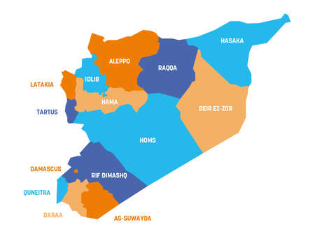Colorful political map of Syria. Administrative divisions - governorates. Simple flat vector map with labels.