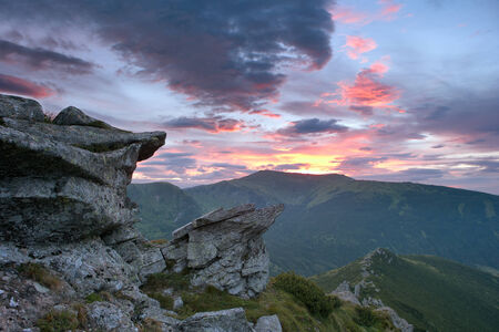 rocky Carpathians in the light of the sunset photo