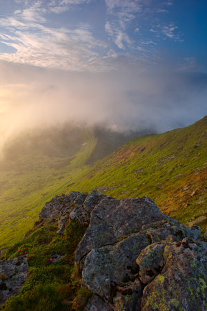 large flat stone relief in the foreground at dawn. Carpathian mountains.drama a morning light