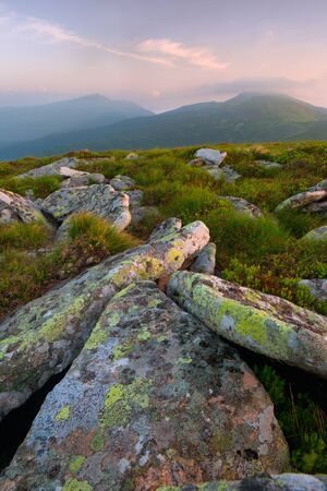 large flat stone relief in the foreground at dawn. Carpathian mountains Stock Photo