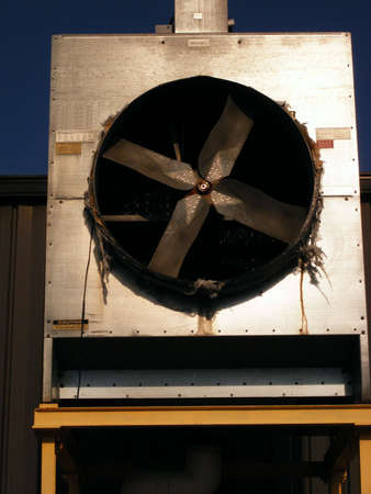 A large fan for exhausting the air within large, industrial buildings.